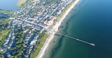 Paradies, nächster Urlaub, Luftaufnahme, Seebrücke Binz, Rügen, Ostsee, Meer, Ostseebad Binz
