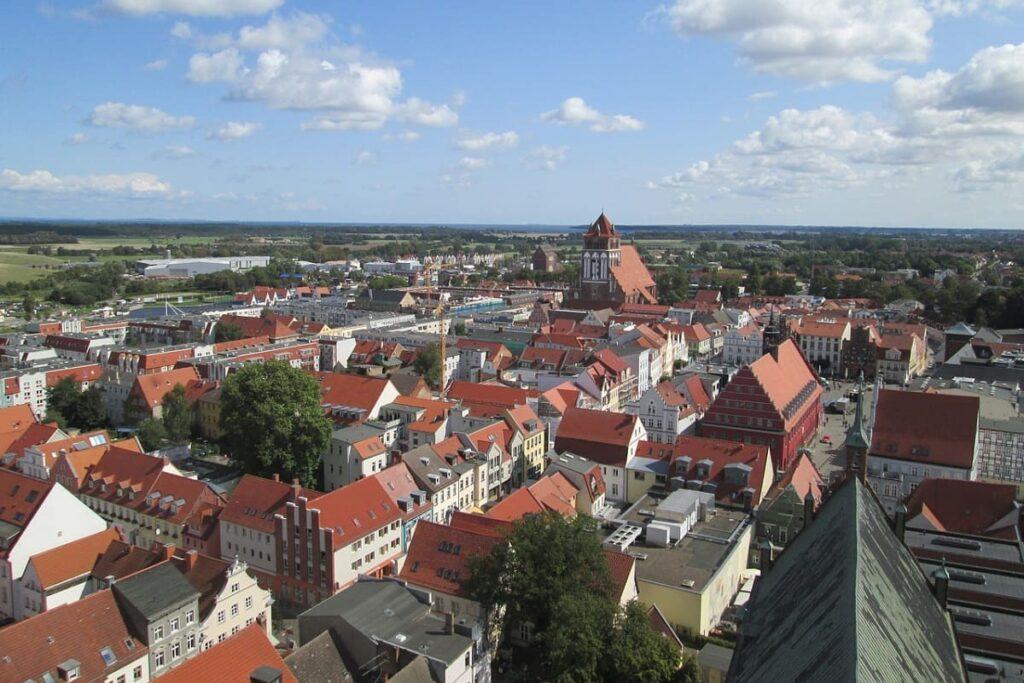 Kreisstadt Greifswald, Mecklenburg Vorpommern, Dach, Panorama, Ostsee, Urlaub, Mein-Ostsee-Urlaub.NET